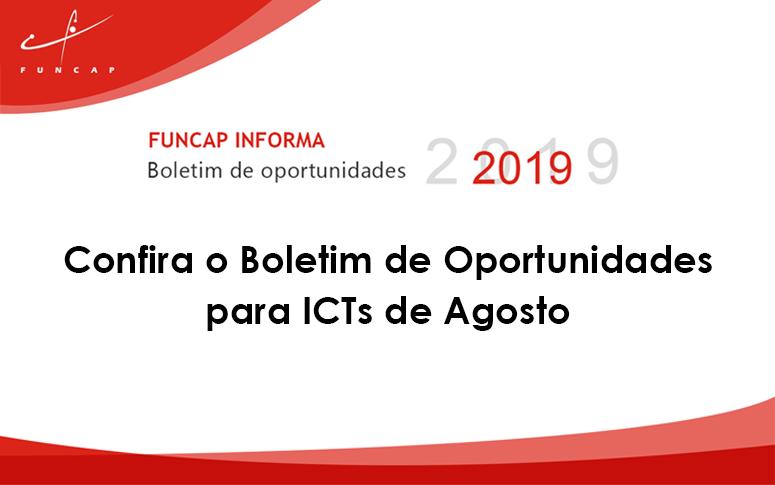 Confira o Boletim de Oportunidades para ICTs de agosto